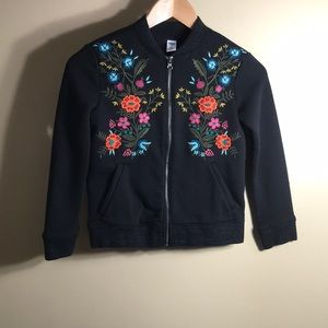 Old navy black zip up sweat shirt w embroidery